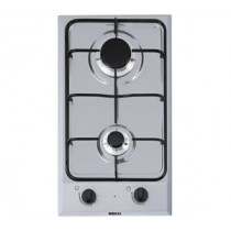 Placa de gas BEKO HDCG32220FX, color inox, 2 fuegos, 95x288x510 mm, gas natural y butano